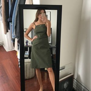 FREE PEOPLE Olive Green Open Back Apron Dress